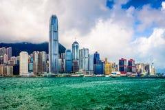 Hong Kong China City Skyline Arkivfoton