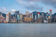 Hong Kong, China - City skyline across the harbour stock photo