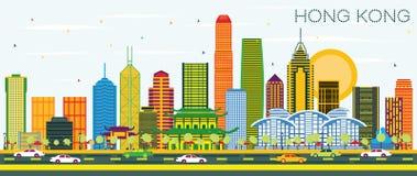 Hong Kong China City Skyline avec les bâtiments de couleur et le ciel bleu illustration libre de droits