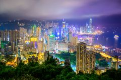 Hong Kong, China City Skyline Royalty Free Stock Photos