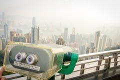 HONG KONG, CHINA - 22 DE ENERO DE 2017: Ciérrese para arriba de una máquina de la visión de la torre del pico de Victoria y de la Imagen de archivo libre de regalías