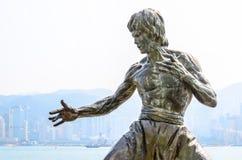 HONG KONG, CHINA - 8 DE FEBRERO: Bruce Lee Statue en la avenida de las estrellas o Fotografía de archivo libre de regalías
