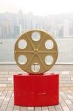 Estatua y horizonte en la avenida de las estrellas, Hong Kong Imagen de archivo libre de regalías