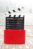 Estatua y horizonte en la avenida de las estrellas, Hong Kong Foto de archivo