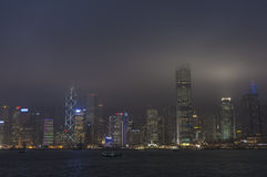 HONG KONG /CHINA 9 de março de 2007 - a skyline da cidade na noite Fotos de Stock