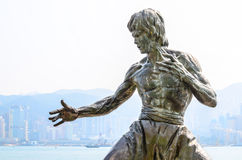 HONG KONG, CHINA - FEB 08: Bruce Lee Statue in Avenue of Stars o Royalty Free Stock Photography