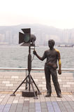 Statue and skyline in Avenue of Stars, Hong Kong Royalty Free Stock Images