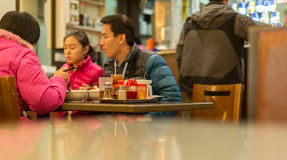 Hong Kong, China, February 07,2015 - Hung Hom, Cantonese Restaur. Ant, Family dinner Stock Photo