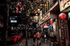 HONG KONG, CHINA - JANUARY, 17:  Hong Kong nightlife. Nightlife starts from 10 PM, offers a variety of bars, shops and restaurants Royalty Free Stock Images