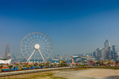 HONG KONG, CHINA - JANUARY 26, 2017: The popular icon Observation Wheel in Hong Kong island, near Ferry Pier arera with Royalty Free Stock Photography