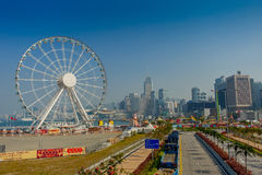 HONG KONG, CHINA - JANUARY 26, 2017: The popular icon Observation Wheel in Hong Kong island, near Ferry Pier arera with Stock Photo