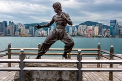 Bruce Lee statue at the Avenue of Stars in Tsim Sha Tsui royalty free stock image