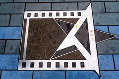 Palm print of Jet Li on the Avenue of Stars, Hollywood Walk of Fame stock photos
