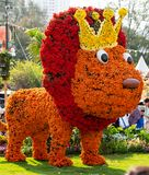 Lion exhibit made of flowers. Hong Kong, China - March 18th 2018 : Decorative model Lion exhibit made with flowers, on display at the Hong Kong Flower Show 2018 Royalty Free Stock Photos