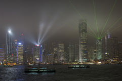 HONG KONG /CHINA negende MAART 2007 - de stadshorizon en lightshow Royalty-vrije Stock Foto's