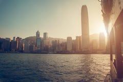 Hong Kong, China - November 28, 2015: City view from the ship on the river. Hong Kong, China - November 28, 2015: City view from the ship on the river Royalty Free Stock Images