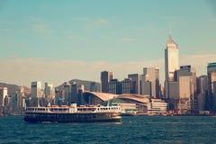 Hong Kong, China - November 28, 2015: City view from the ship on the river. Hong Kong, China - November 28, 2015: City view from the ship on the river Royalty Free Stock Photo