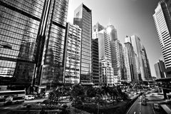 HONG KONG, CHINA - NOVEMBER 27, 2011: luchtmening over straat in Hong Kong op 27 november, 2011 Stock Afbeeldingen