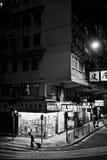 HONG KONG, CHINA - NOVEMBER 21, 2011: straten van Hong Kong bij nacht op 21 november, 2011 Royalty-vrije Stock Afbeelding