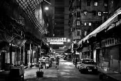 HONG KONG, CHINA - NOVEMBER 21, 2011: streets of Hong Kong at night on november 21, 2011. Royalty Free Stock Images