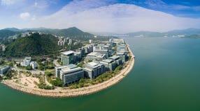 Hong Kong, China, o 7 de janeiro de 2017 Vista aérea sobre o parque de ciência O governo para promover os pessoais da pesquisa ci imagens de stock