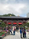 Hong Kong, China: O qui Lin Nunnery ? grande compex do templo budista em Diamond Hill, Kowloon, Hong Kong Opini?o Maitreya Sal?o foto de stock