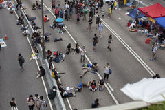 Hong Kong, China Oct. 4, 2014, Occupy Central, Protestors block roads in Hong Kong's Central business district. Royalty Free Stock Photos