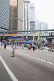 Hong Kong, China Oct. 4, 2014, Occupy Central, Protestors block roads in Hong Kong's Central business district. Royalty Free Stock Images