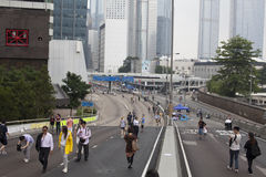 Hong Kong, China Oct. 4, 2014, Occupy Central, Protestors block roads in Hong Kong's Central business district. Stock Image