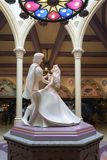 Stone sculpture of Princess Aurora and Prince Phillip dancing stock photo
