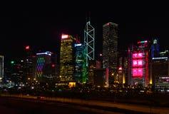 Hong Kong night lights stock images