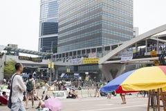 Hong Kong, China outubro 4, 2014, ocupam a central, estradas do bloco dos Protestors no distrito financeiro central de Hong Kong Foto de Stock Royalty Free