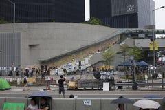 Hong Kong, China outubro 4, 2014, ocupam a central, estradas do bloco dos Protestors no distrito financeiro central de Hong Kong Fotografia de Stock Royalty Free