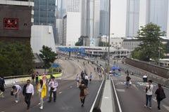 Hong Kong, China outubro 4, 2014, ocupam a central, estradas do bloco dos Protestors no distrito financeiro central de Hong Kong Imagem de Stock