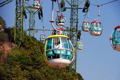 Hong Kong, China: Ozean-Park-Drahtseilbahnen Stockfotografie