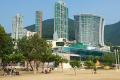 People relax at the Stanley town beach in Hong Kong, China. Stock Photo