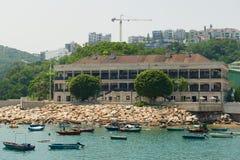 View to the Murray House and Stanley harbor in Hong Kong, China. Hong Kong, China - September 16, 2012: View to the Murray House and Stanley harbor in Hong Kong stock photos