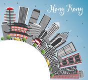 Hong Kong China Skyline avec Gray Buildings, le ciel bleu et la copie S illustration stock