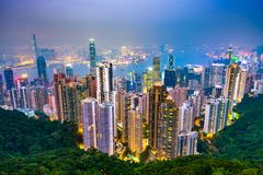 Hong Kong, China Skyline. Hong Kong, China city skyline from Victoria Peak at night stock photography