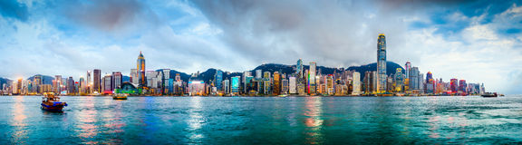 Hong Kong China Skyline. Hong Kong, China skyline panorama from across Victoria Harbor royalty free stock photo