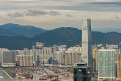 Hong Kong, China-Skylinepanorama von über Victoria Peak Lizenzfreie Stockfotografie