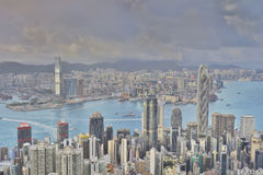Hong Kong, China-Stadtskyline von Victoria Peak Lizenzfreie Stockbilder