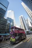 Hong Kong / China 06 26 2018: A streetcar crosses Pedder Street on Des Voeux Road Central Stock Images