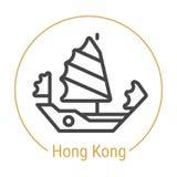 Hong Kong, China Vector Line Icon stock illustration