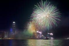 Hong Kong Chinese New Year-Feuerwerke 2014 Lizenzfreie Stockfotografie