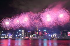 Hong Kong : Chinese New Year Fireworks Display 2016 Royalty Free Stock Photography