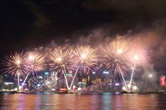 Hong Kong : Chinese New Year Fireworks Display 2016 Stock Photography