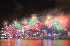 Hong Kong : Chinese New Year Fireworks Display 2016 Stock Photos