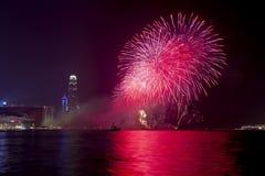 Hong Kong Chinese New Year-vuurwerk 2014 Stock Foto's