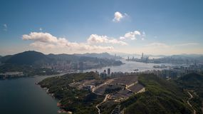Hong Kong Chinese Permanent Cemetery Skyline drone view. At TKO Royalty Free Stock Photo